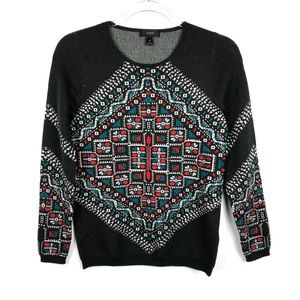 J Crew | Embroidered Merino Wool Knotted Sweater